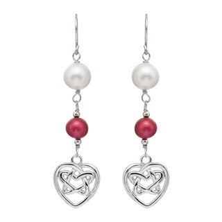 Pearlyta Sterling Silver Freshwater Pearl and Garnet Dangle Heart Earrings (7-8 mm)