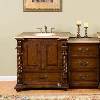 Silkroad Exclusive 57-inch Walnut Travertine Stone Top Single-sink Bathroom Vanity