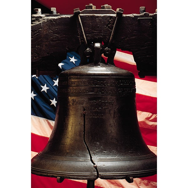 Shop Liberty Bell With American Flag Photography Canvas