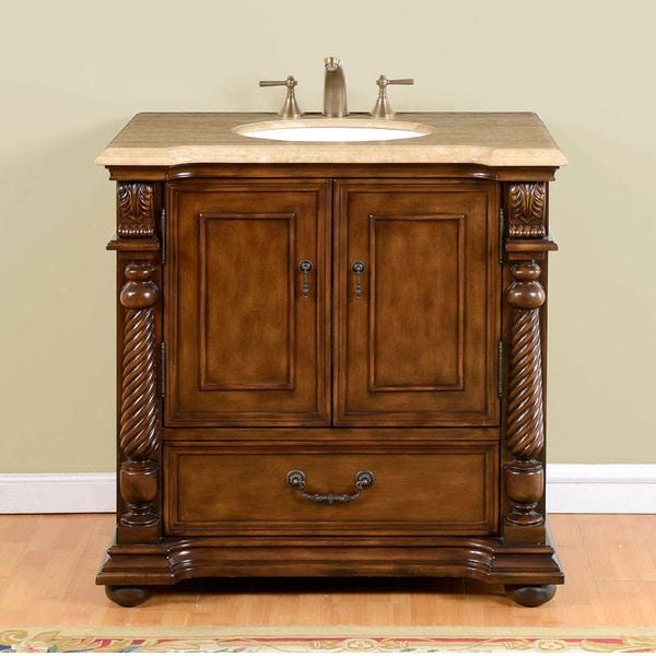 Silkroad Exclusive 36 Inch Walnut Travertine Stone Top Single Sink Bathroom Vanity Free