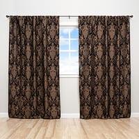 Sherry Kline China Art Black 84-inch Luxury Jacquard Curtain Panel Pair - 56 x 84
