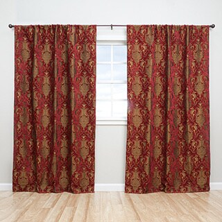 Sherry Kline Luxury China Art Red 84-inch Curtain Panel Pair - 56 x 84