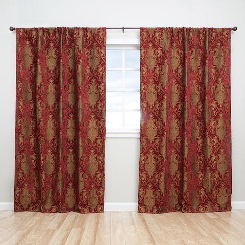Sherry Kline Luxury China Art Red 84-inch Curtain Panel Pair - 56 x 84