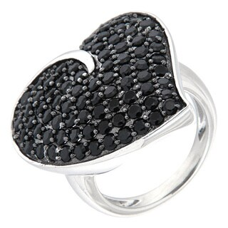 Pearlz Ocean Sterling Silver Black Spinel Fancy Heart Ring