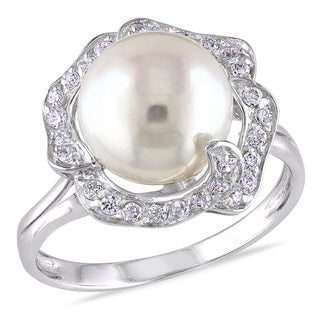 Miadora Sterling Silver White Pearl and White Topaz Cocktail Ring (9-10 mm)