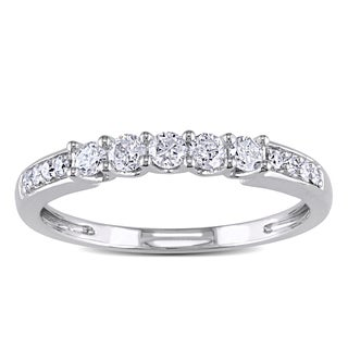 Miadora 14k White Gold 1/3ct TDW Diamond Anniversary-style Stackable Wedding Band (G-H, I1-I2)