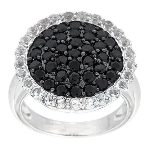 Pearlz Ocean Sterling Silver Black Spinel and White Topaz Ring Jewelry for Womens