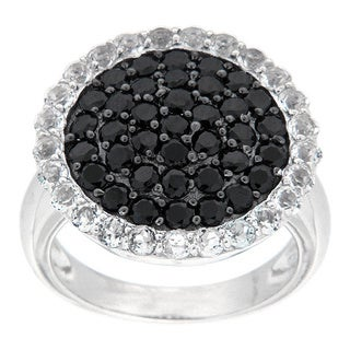 Pearlz Ocean Sterling Silver Black Spinel and White Topaz Ring