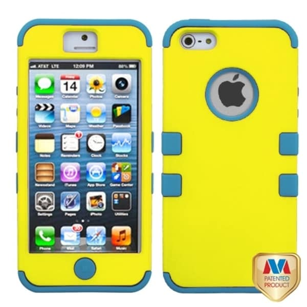 INSTEN Yellow/ Tropical Teal TUFF Case Cover for Apple iPhone 5