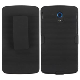 INSTEN Black Hybrid Holster-Style Phone Case Cover for Pantech P9090 Discover