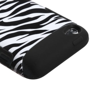 INSTEN Zebra Skin/ Black TUFF iPod Case Cover for Apple iPod Touch 4