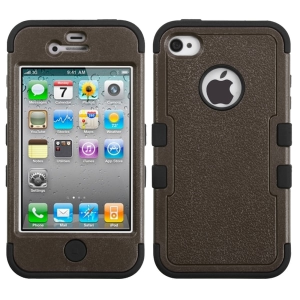 INSTEN Natural Brown/ Black TUFF Phone Case Cover for Apple iPhone 4/ 4S