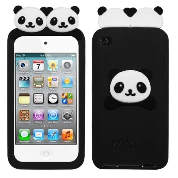 INSTEN Black Peeking Pandas Pastel iPod Case Cover for Apple iPod Touch 4
