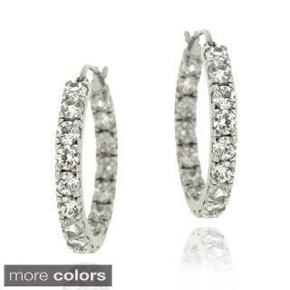 Icz Stonez Sterling Silver Cubic Zirconia Hoop Earrings