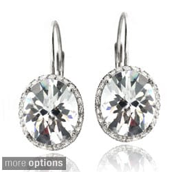 Icz Stonez Sterling Silver Cubic Zirconia Oval Drop Earrings