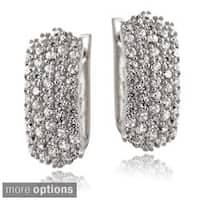 Icz Stonez Sterling Silver Cubic Zirconia Pave Half Hoop Earrings