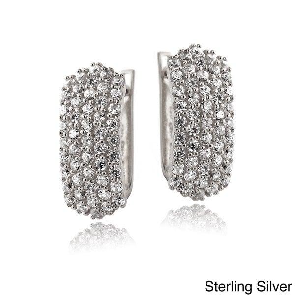 Icz Stonez Sterling Silver Cubic Zirconia Pave Half Hoop Earrings