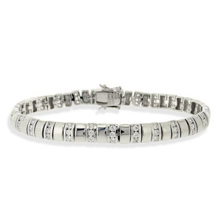 Icz Stonez Sterling Silver Cubic Zirconia Pattern Link Bracelet