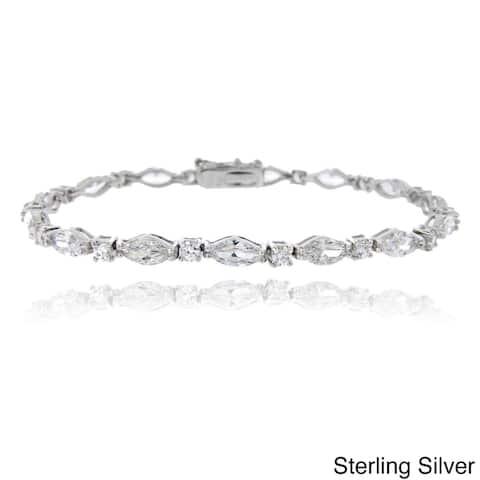 Icz Stonez Sterling Silver Marquise Pattern Link Bracelet