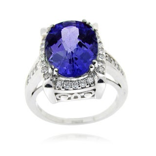 Icz Stonez Sterling Silver Blue Cubic Zirconia Oval Framed Ring