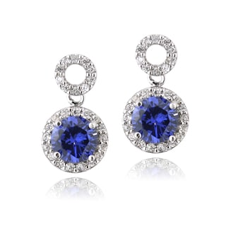 Icz Stonez Sterling Silver Blue Cubic Zirconia Circle Earrings