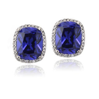 Icz Stonez Sterling Silver Blue Cubic Zirconia Framed Stud Earrings