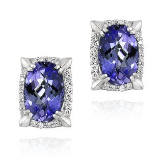 Icz Stonez Sterling Silver Blue Cubic Zirconia Oval Framed Earrings