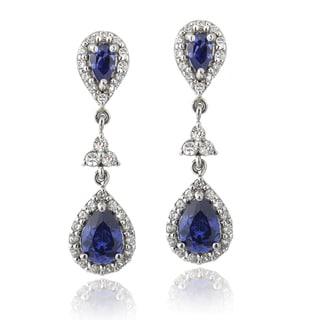Icz Stonez Sterling Silver Blue Cubic Zirconia Dangle Teardrop Earrings