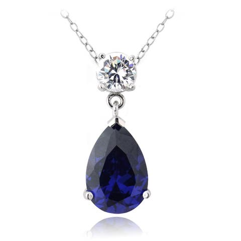 Icz Stonez Sterling Silver Blue Cubic Zirconia Teardrop Necklace