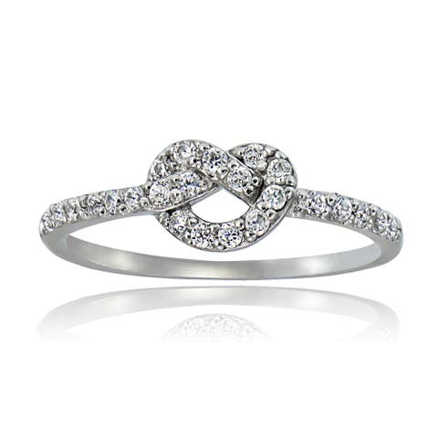 Icz Stonez Sterling Silver Cubic Zirconia Love Knot Ring