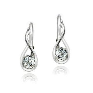 Glitzy Rocks Sterling Silver White Topaz Earrings