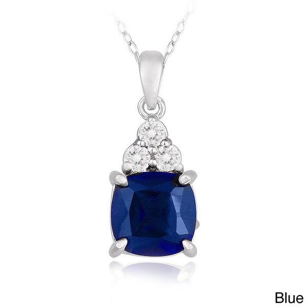 Icz Stonez Sterling Silver Cushion-cut Created Gemstone and Cubic Zirconia Necklace