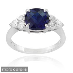Icz Stonez Sterling Silver Created Gemstone and Cubic Zirconia Ring