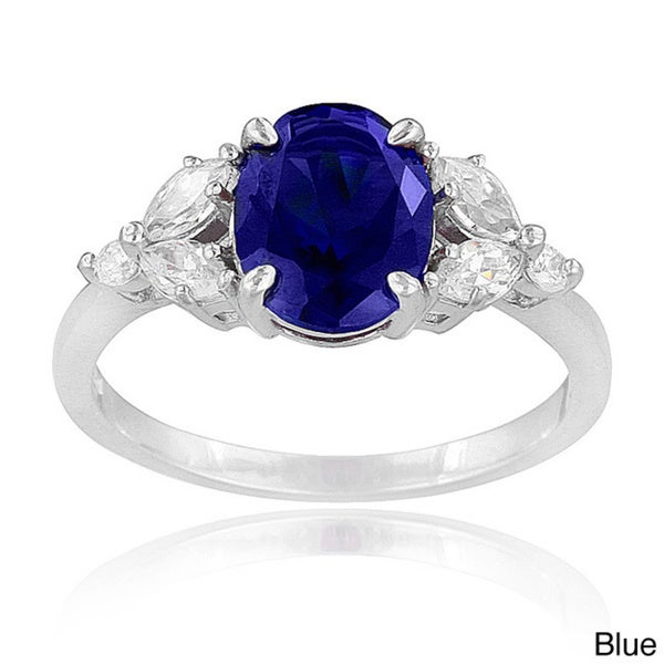 Icz Stonez Sterling Silver Created Gemstone and Cubic Zirconia Oval Ring