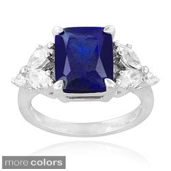 Icz Stonez Sterling Silver Created Gemstoneand Cubic Zirconia Ring