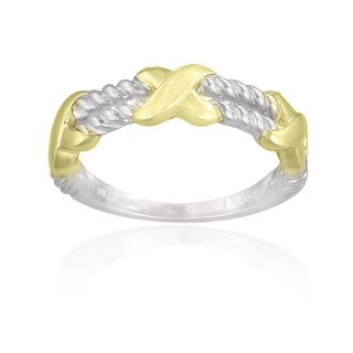 Mondevio Sterling Silver Two-tone Rope X Design Ring