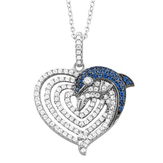 Fremada Rhodium-plated Sterling Silver Cubic Zirconia Dolphin on Heart Pendant Necklace