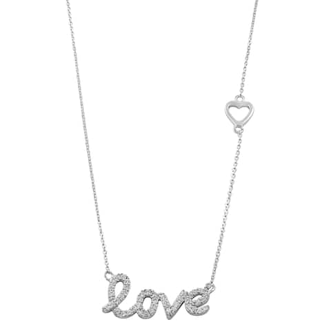 Fremada Rhodium-plated Sterling Silver Cubic Zirconia Love Necklace