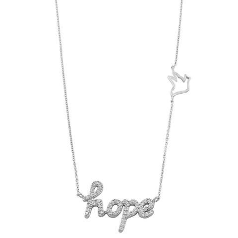 Fremada Rhodium-plated Sterling Silver Cubic Zirconia Hope Necklace