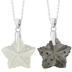 Fremada Rhodium-plated Sterling Silver Mother of Pearl Star Necklace