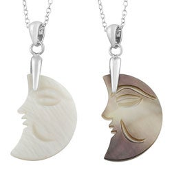 Fremada Rhodium-plated Sterling Silver Mother of Pearl Half Moon Necklace