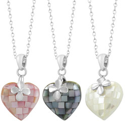 Fremada Rhodium-plated Sterling Silver Mother of Pearl Heart Necklace