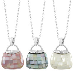 Fremada Rhodium-plated Sterling Silver Mother of Pearl Purse Necklace