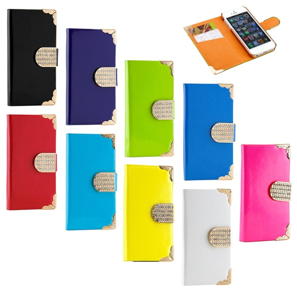 Gearonic Luxury Wallet PU Leather Case for Apple iPhone 5