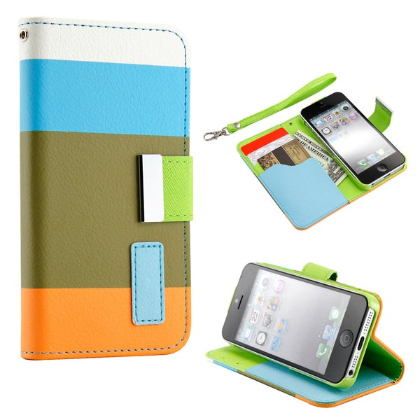 Gearonic Wallet PU Leather Magnetic Flip Cover Case for iPhone 5