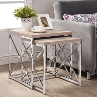 Natural Reclaimed-look Chrome Metal 2-piece Table