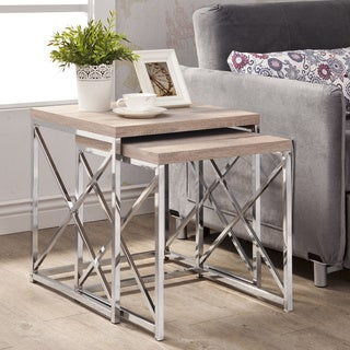 Porch & Den Pacific Natural Reclaimed-look Chrome Metal 2-piece Table