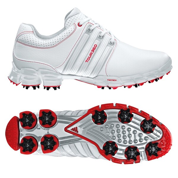 b679d8a3e5ed2d Shop Adidas Men s Tour 360 ATV M1 White  Silver  Red Golf Shoes ...