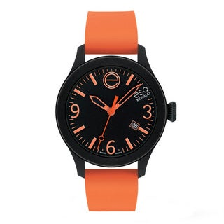 ESQ Movado Unisex 'ESQ ONE' Black/ Orange Watch