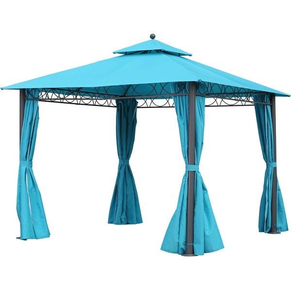 international caravan st kitts 10 foot double vented canopy draped square gazebo - Terra Cotta Tile Canopy 2015